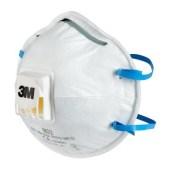 3M 8822 Comfortabele professionele fijnstofmaskers met uitademventiel en elastieken achter het hoofd - stofklasse FFP2 NR D per 10 stuks - TIJDELIJK MET 0 PROCENT BTW