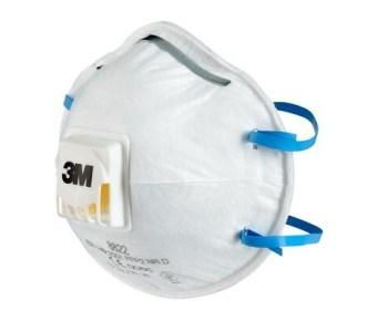 3M 8822 Comfortabele professionele fijnstofmaskers met uitademventiel en elastieken achter het hoofd - stofklasse FFP2 NR D per 10 stuks