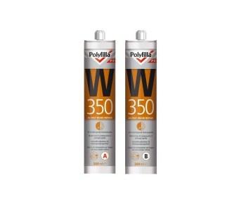 Polyfilla PRO W350 vulmassa vulpasta epoxy-vrije 2K Sneldrogende houtreparatiepasta per 600 ml set (opvolger van Sikkens WR Fast) - aantrekkelijke staffelprijzen